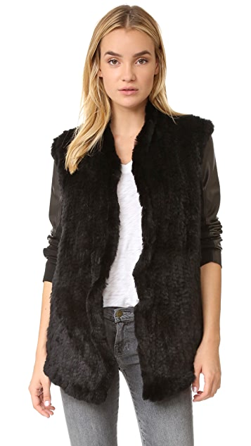 June Shawl Fur Leather Jacket