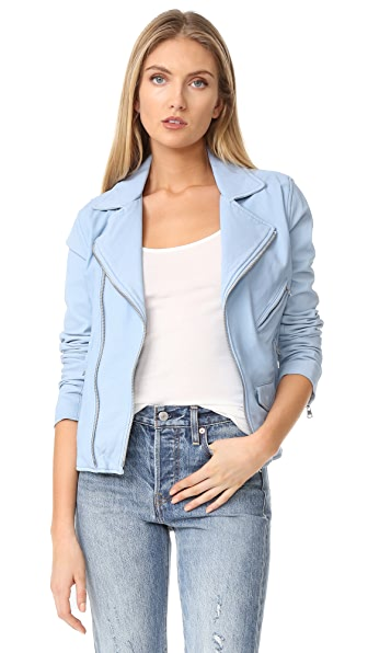 June Vintage Moto Jacket - Baby Blue