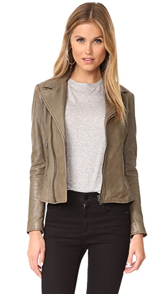 June Classic Fitted Leather Jacket - Olive