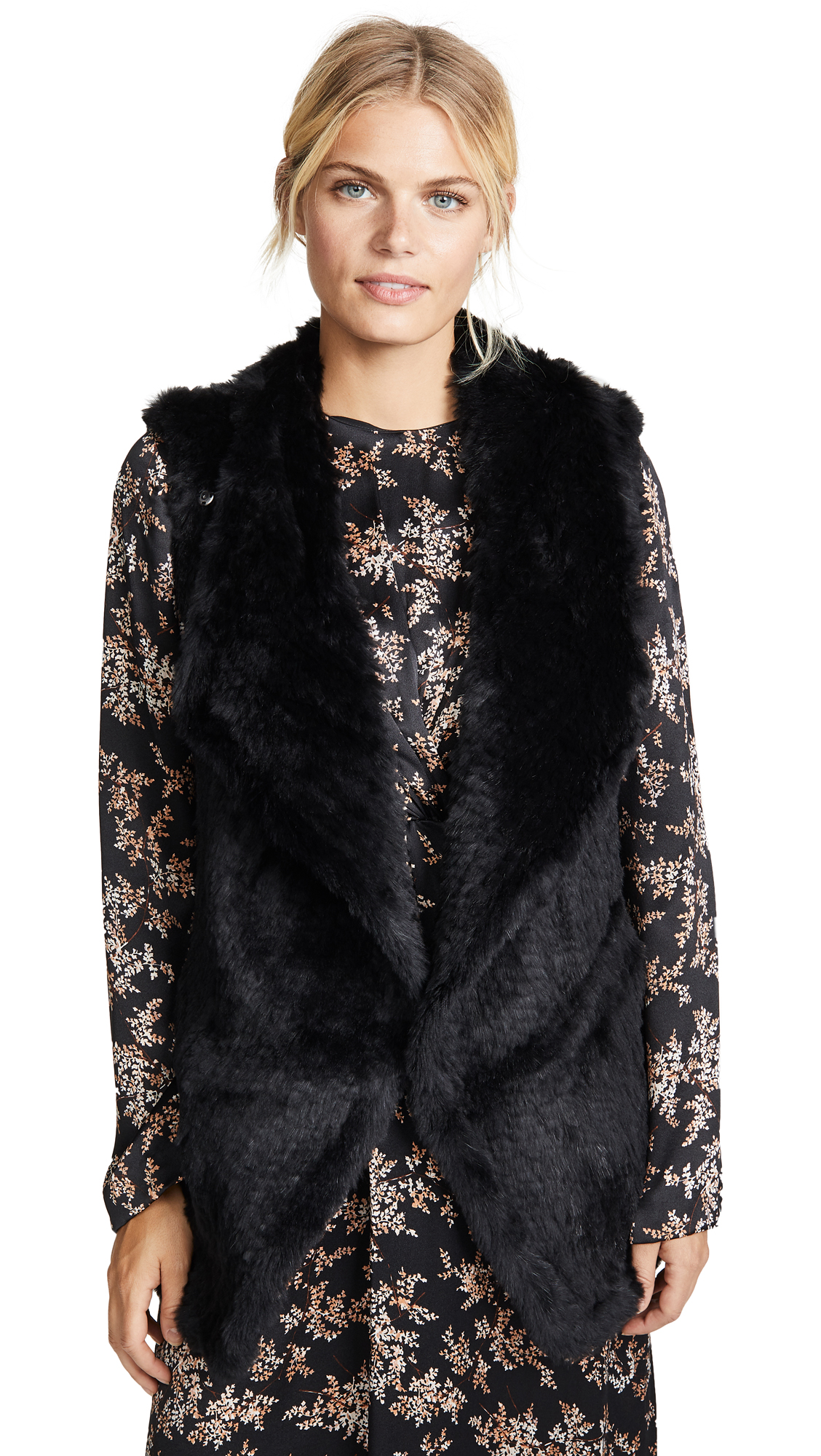 JUNE Asymmetric Fur Vest in Black