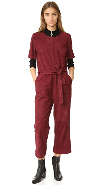 Just Female Rufus Suede Jumpsuit In Oxblood