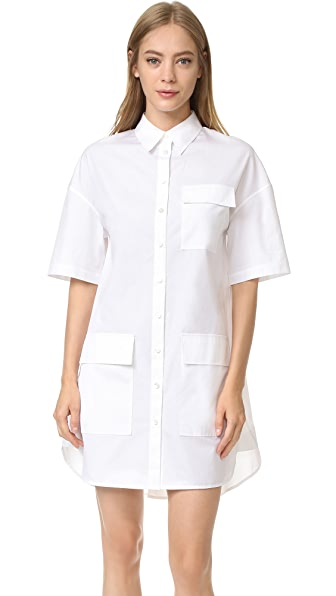 Grey Jason Wu Relaxed Shirting Shirt Dress