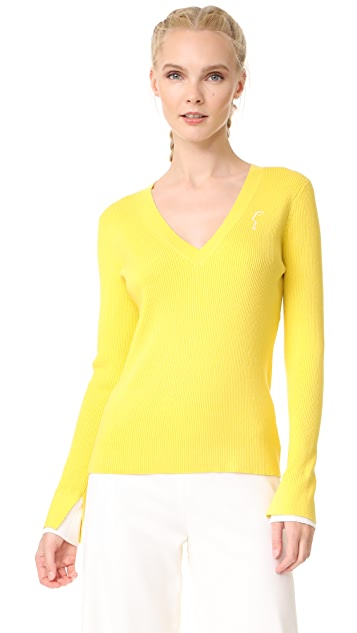 Jason Wu Grey V Neck Sweater