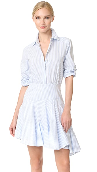 Grey Jason Wu Long Sleeve Stripe Asymmetrical Dress