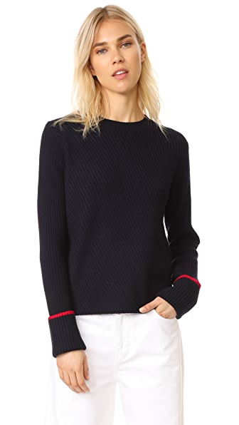 Grey Jason Wu Ribbed Knit Sweater In Midnight/Hibiscus Red