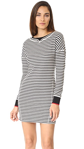 Jason Wu Grey Stripe Boatneck Dress with Ribbed Detail In Black/Star White