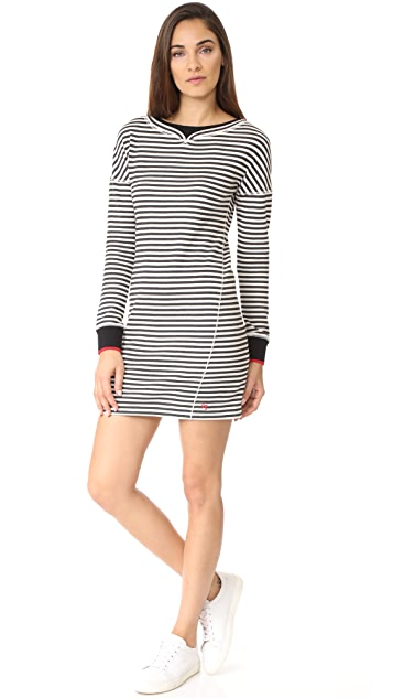 Jason Wu Grey Stripe Boatneck Dress with Ribbed Detail
