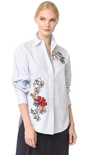 Grey Jason Wu Button Down Stripe Cotton Shirt