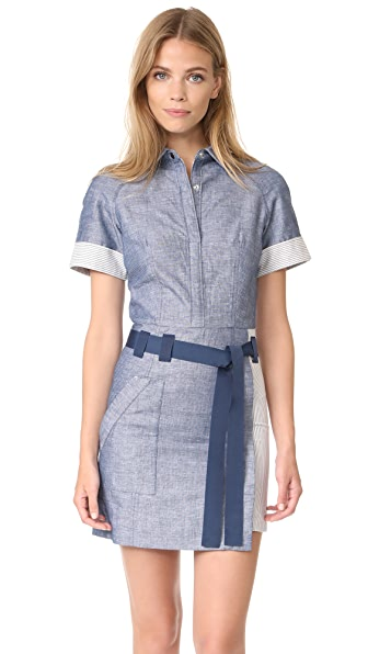 Jason Wu Grey Short Sleeve Shirtdress In Light Indigo