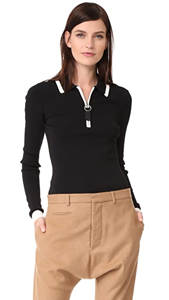 Grey Jason Wu Long Sleeve Polo Sweater - Black/Star White