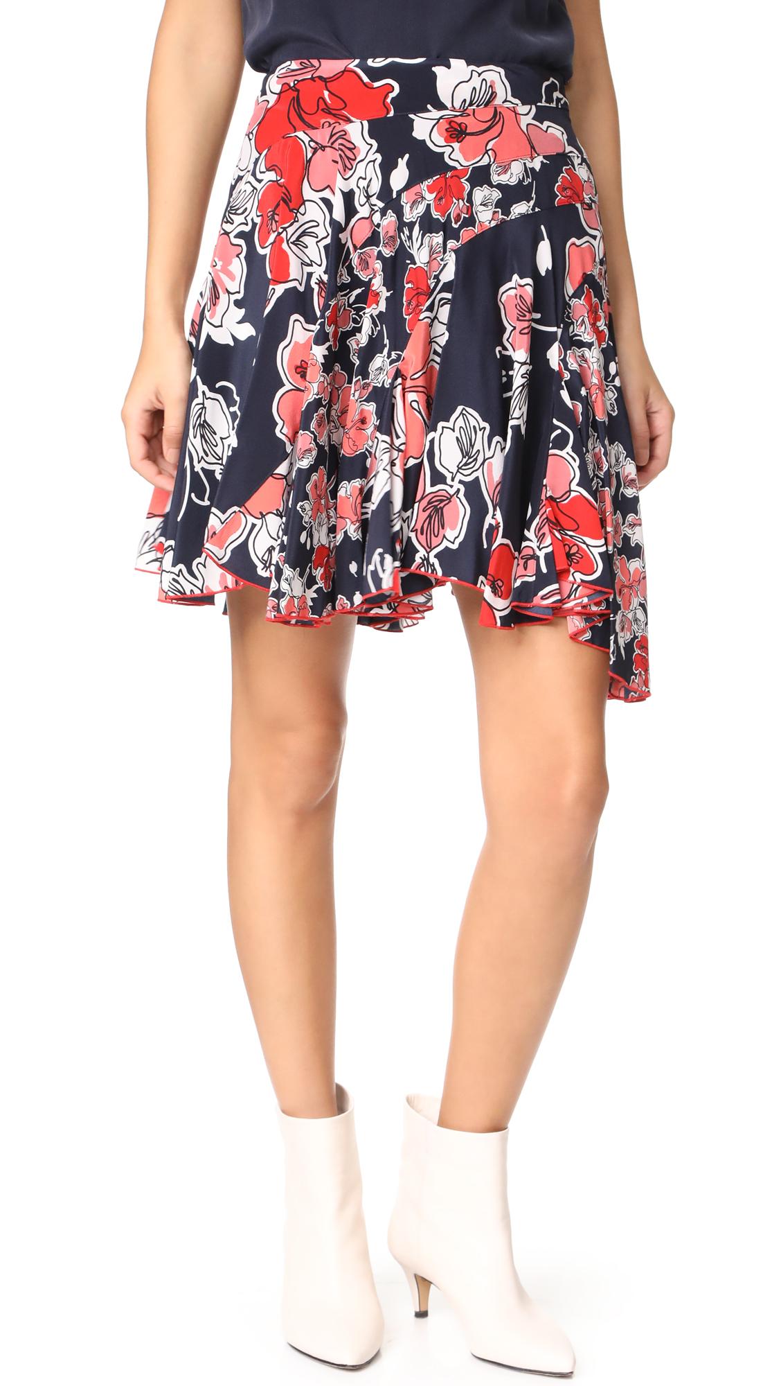 Jason Wu Grey Asymmetrical Tropical Print Skirt - Midnight Multi