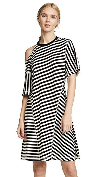 Jason Wu Grey Striped Jersey Cold Shoulder Dress In Black/Cream