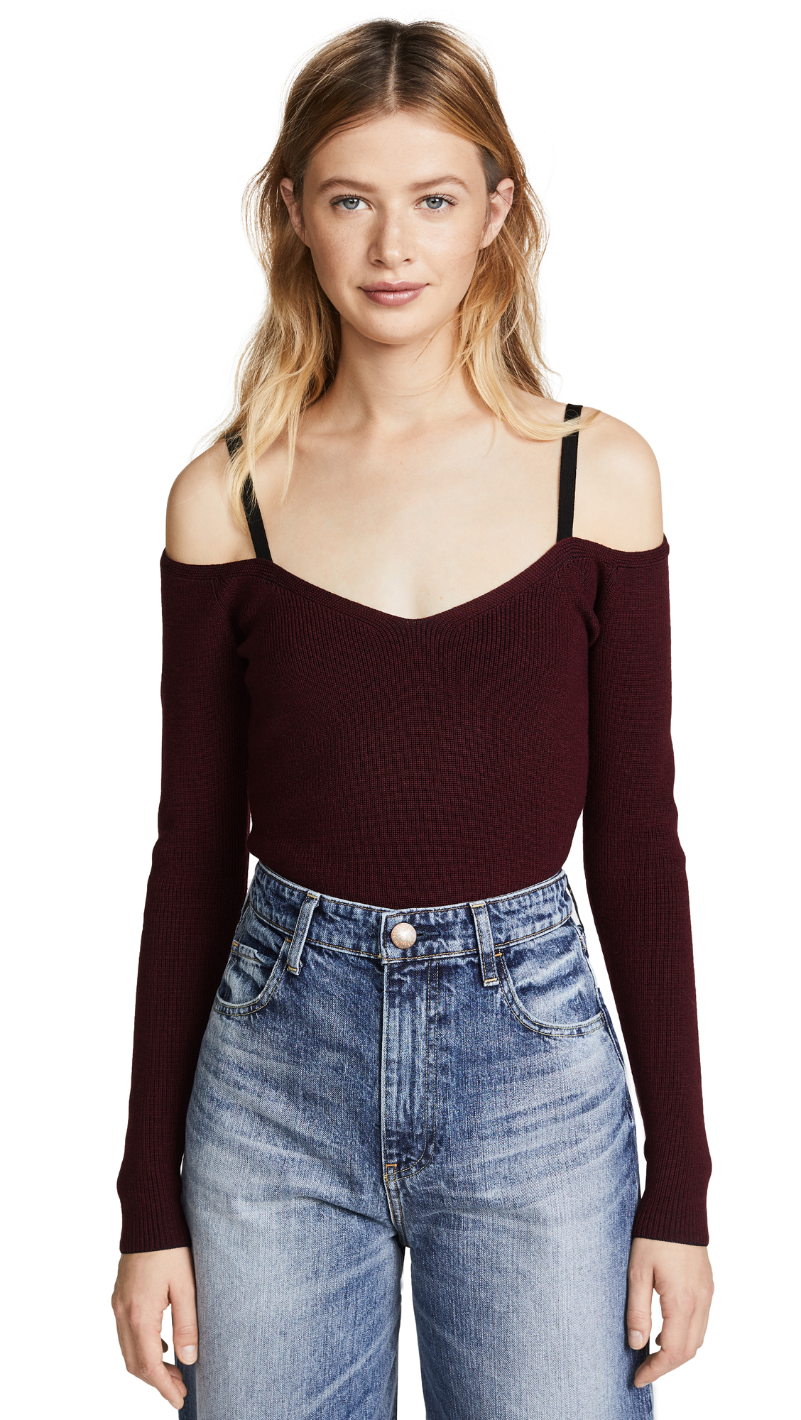 Jason Wu Grey Off Shoulder Knit Top In Garnet/Midnight