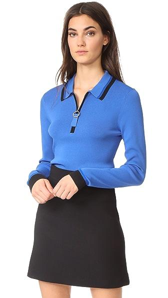 Grey Jason Wu Knit Long Sleeve Polo Shirt In Cobalt/Black