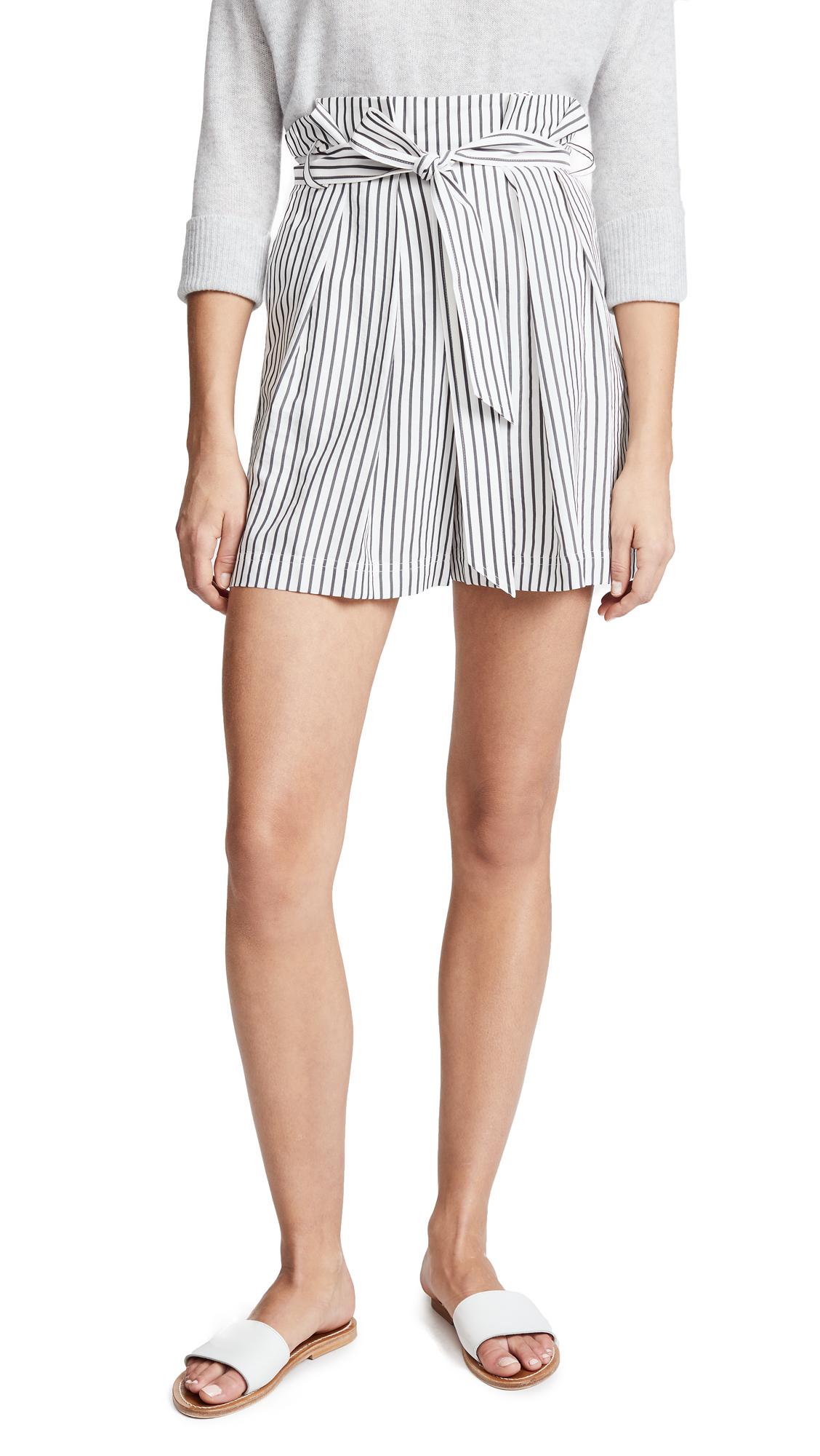 High Waist Paper Bag Shorts, Star White/Elephant
