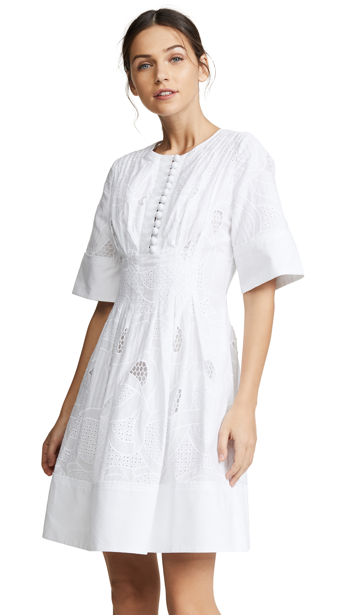 Jason Wu Grey Ribbon Eyelet Short Sleeve Dress