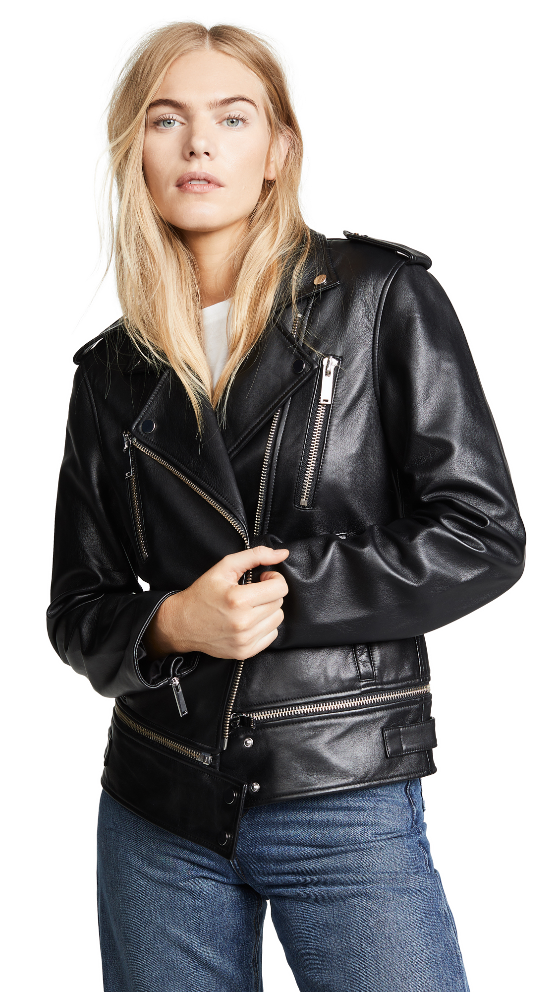 Jason Wu Grey Leather Jacket In Black