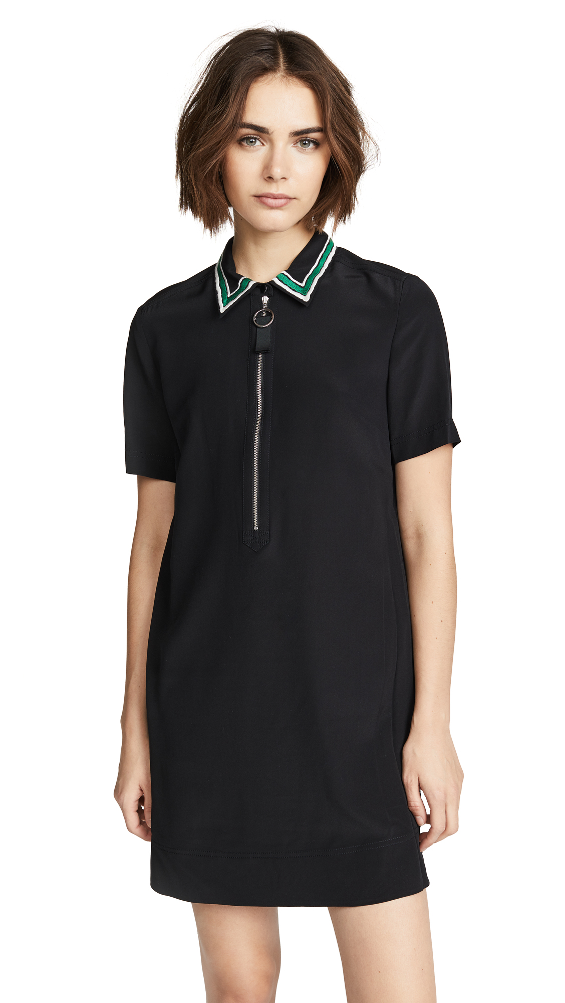 ZIP DRESS WITH EMBROIDERED COLLAR