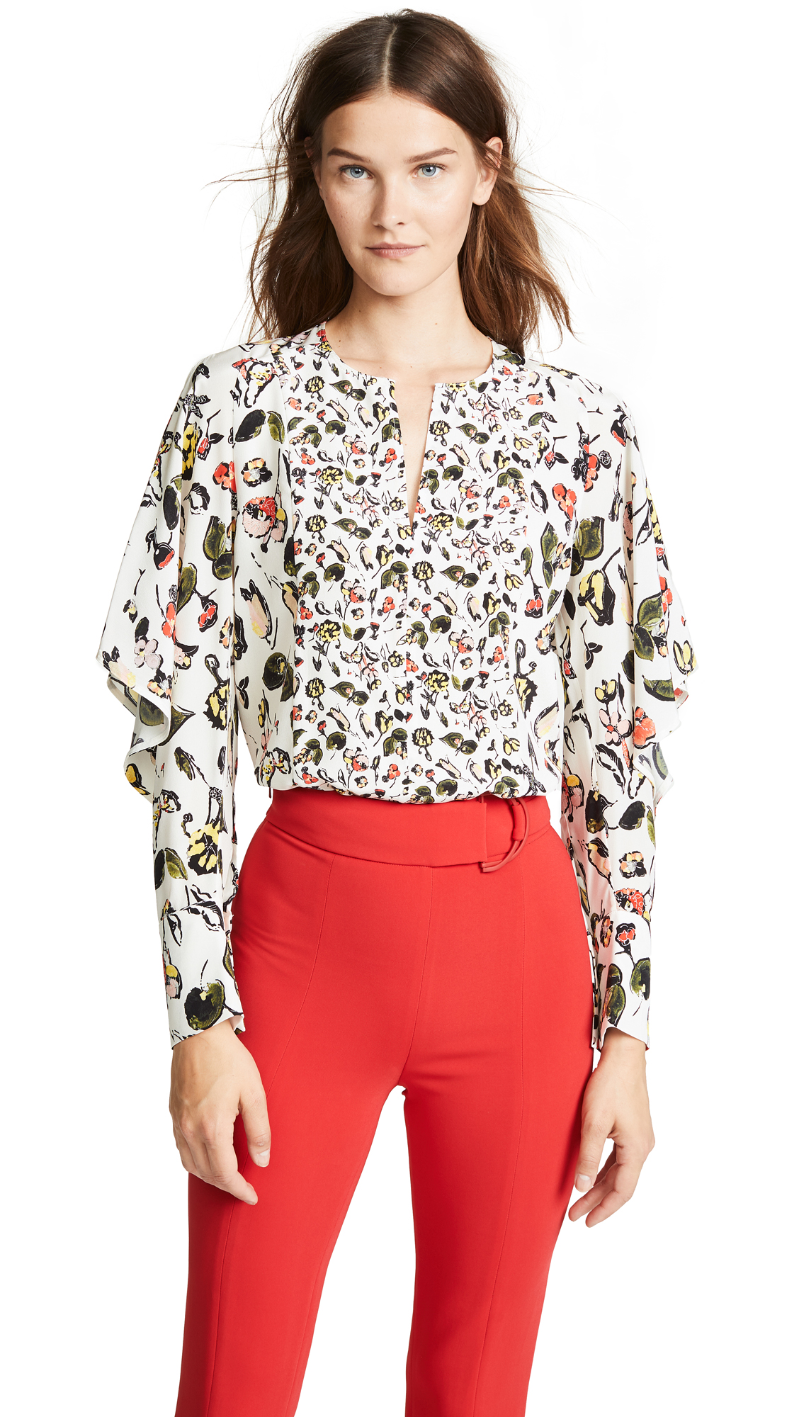 JASON WU GREY Ruffled Floral-Print Silk Crepe De Chine Shirt in Beige Multi