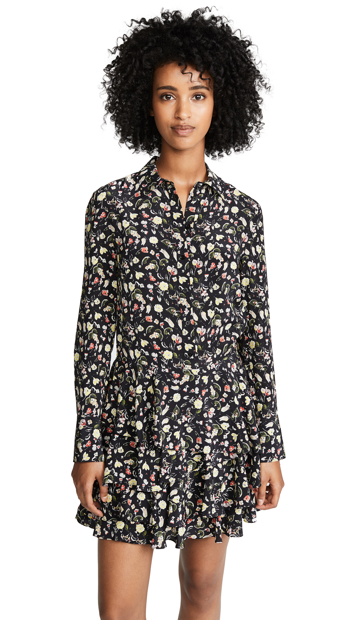 Jason Wu Grey Painterly Floral Dress In Black Floral