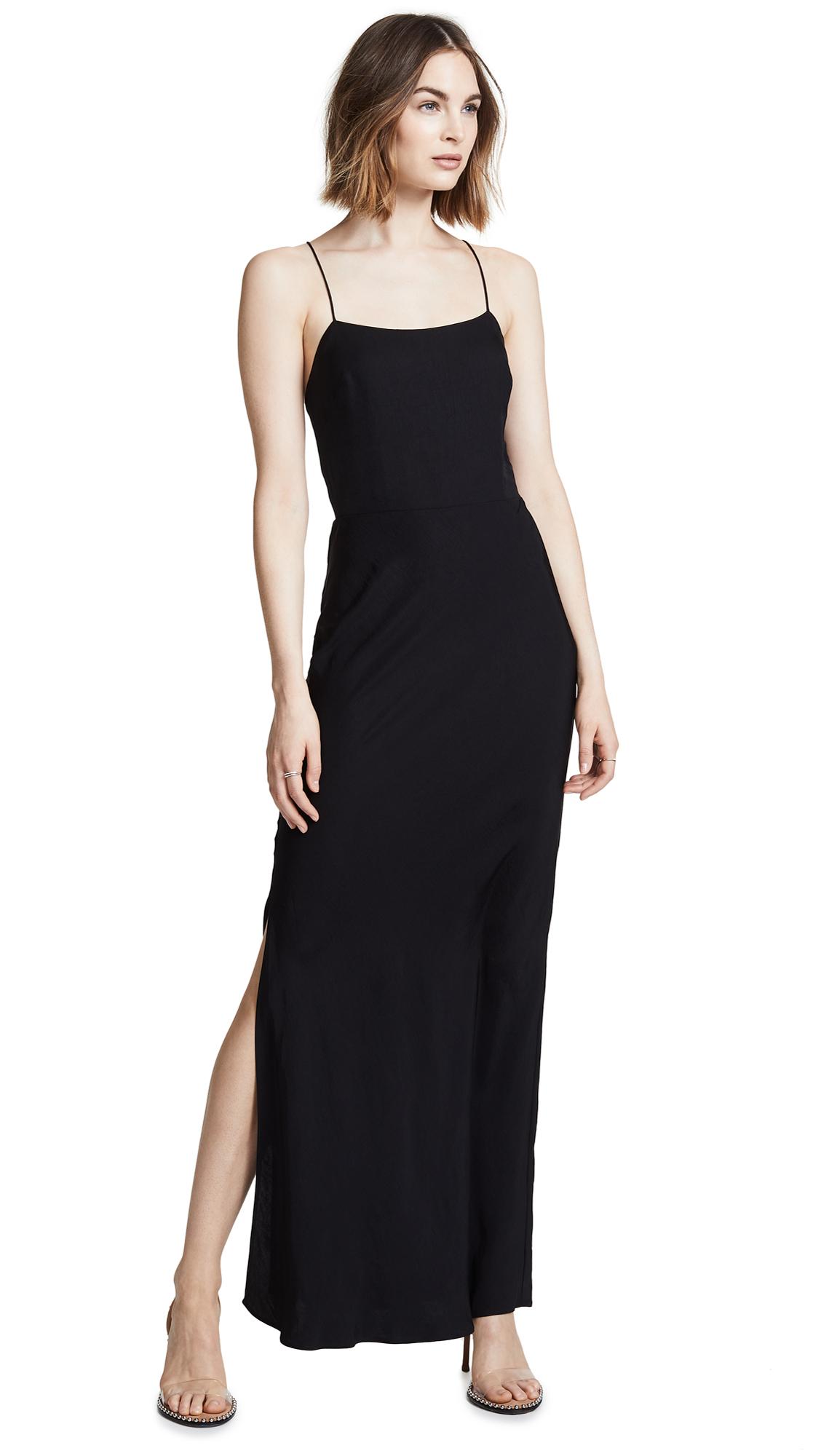 JASON WU GREY Open-Back Crepe Maxi Dress in Black