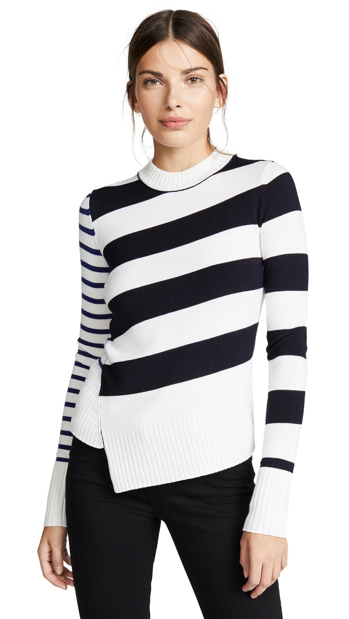 Asymmetric Striped Merino Wool Sweater, Star White/Midnight