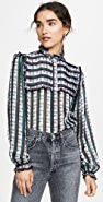 Jason Wu Striped Plaid Ruffle Blouse