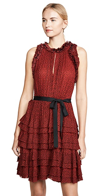 Jason Wu Sleeveless Floral Ruffle Dress