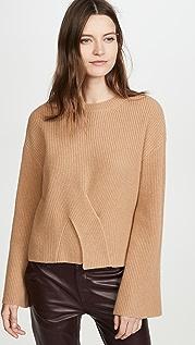 Jason Wu Кашемировый свитер с округлым вырезом и перекрученным элементом спереди
