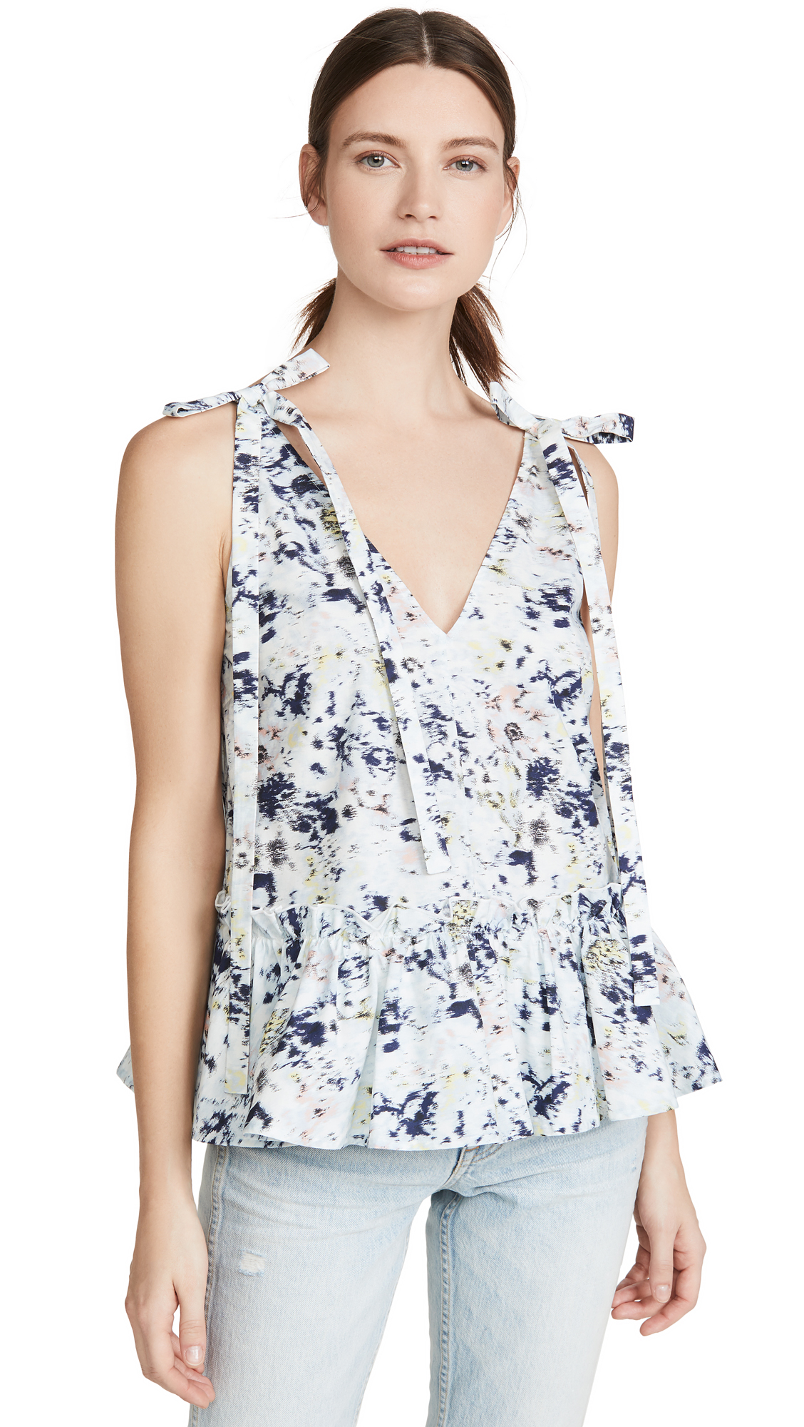 Jason Wu Blurred Magnolia Ruffled V Neck Top - 40% Off Sale