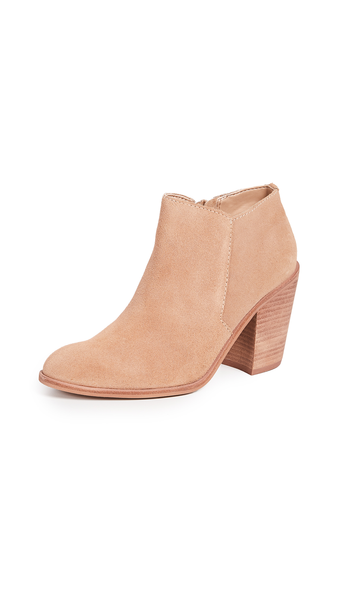 KAANAS Bologna Stacked Heel Booties - Almond
