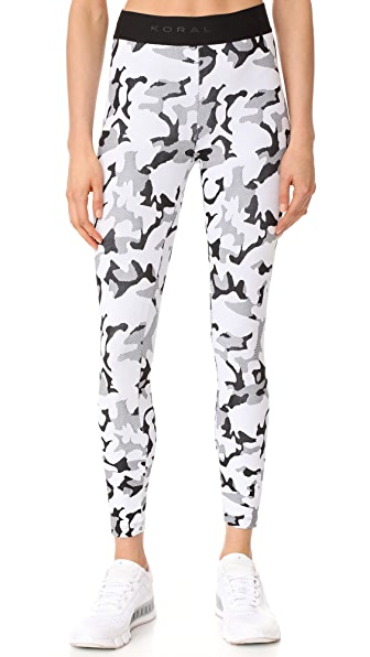 KORAL ACTIVEWEAR Undisclosed Knockout Leggings In White Camo/Black