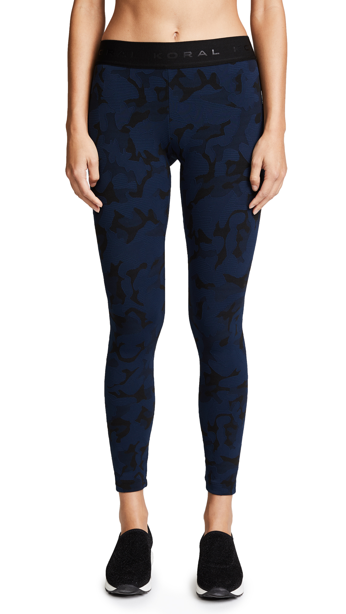 KORAL ACTIVEWEAR Knockout Cropped Leggings - Midnight Blue Camo/Black
