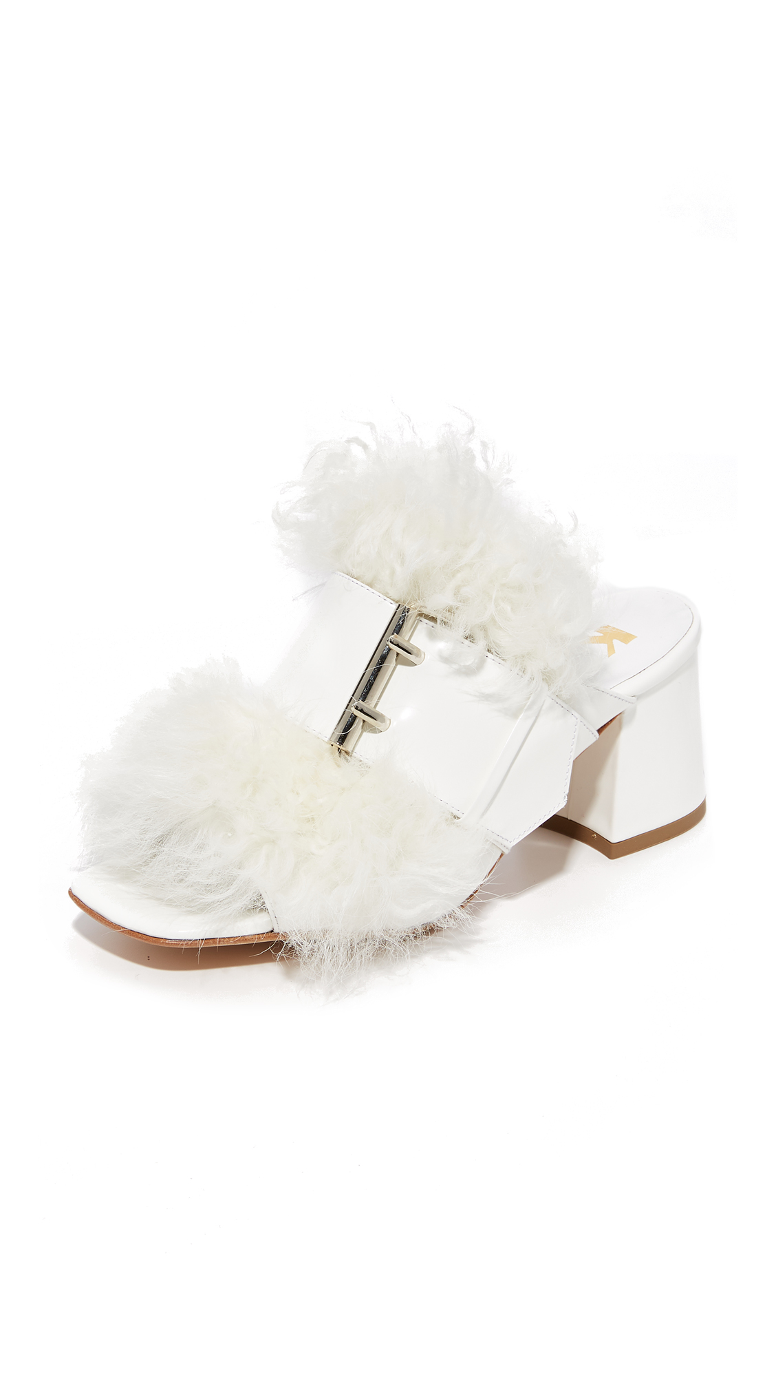 Kalda Jones Buckle Mules - White