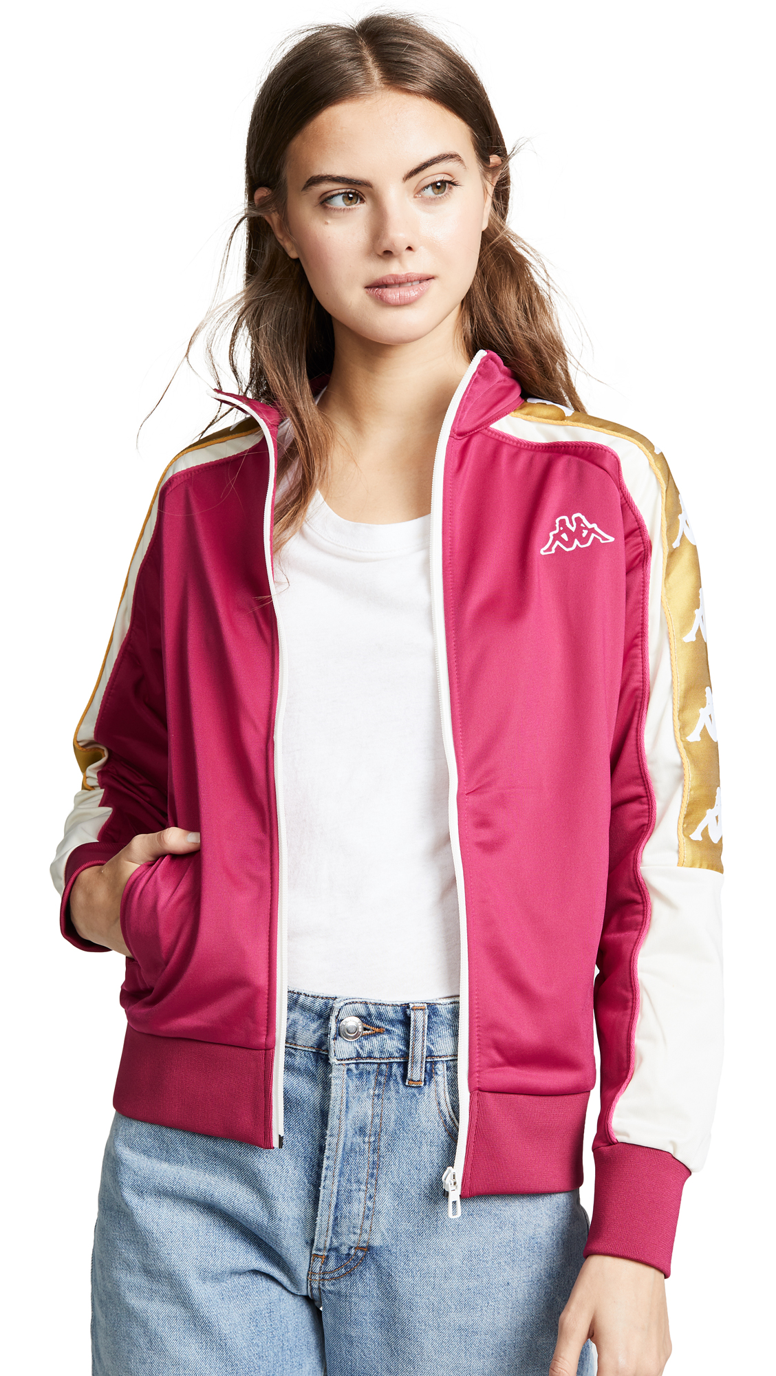Banda Track Jacket in Red Cerise/White/Gold
