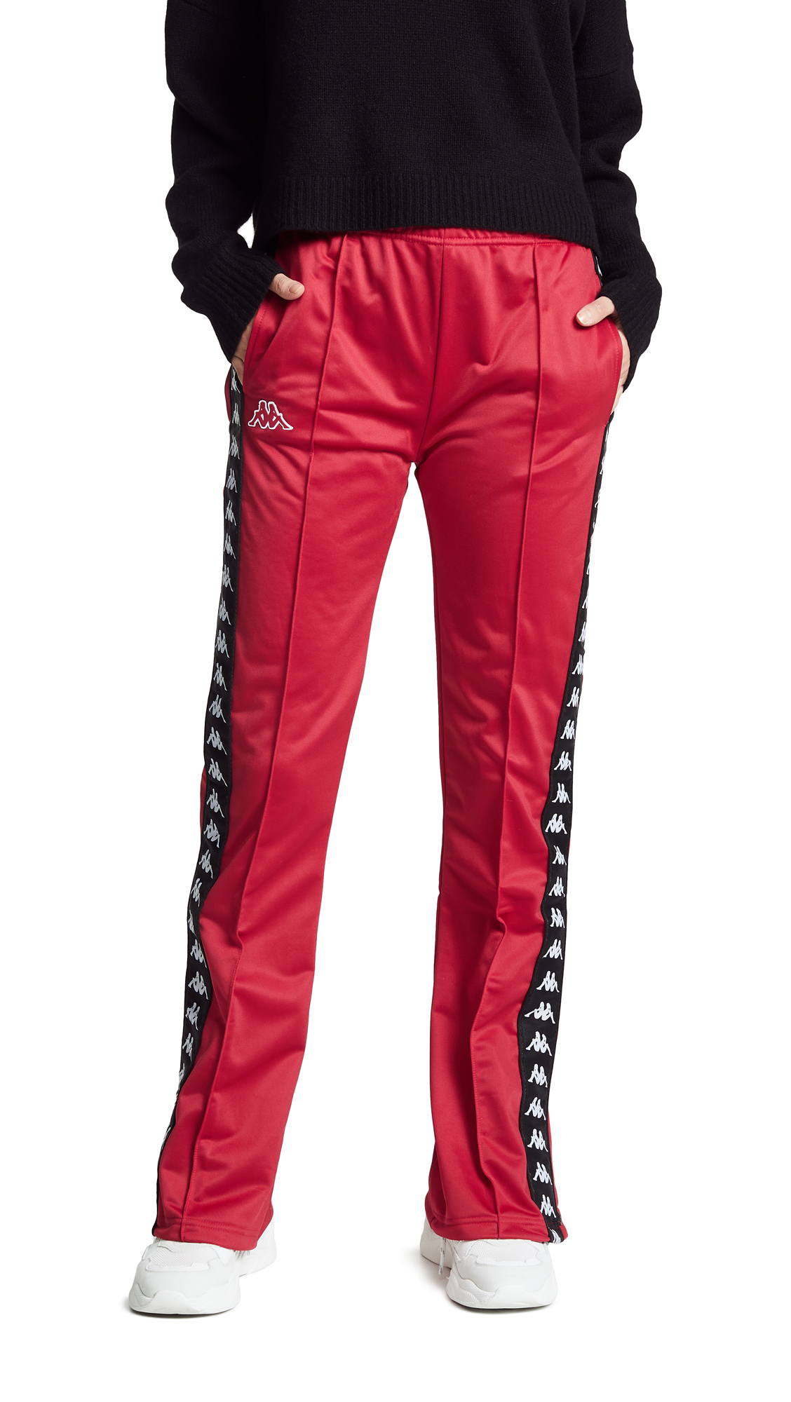 Popper Tracksuit Pant With Logo Taping - Red in Red/Dark Black
