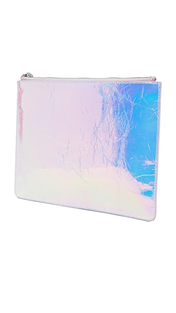 KARA Crinkled Hologram Flat Pouch