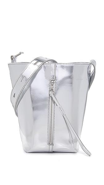 KARA Mirrored Panel Pail Bag In Silver