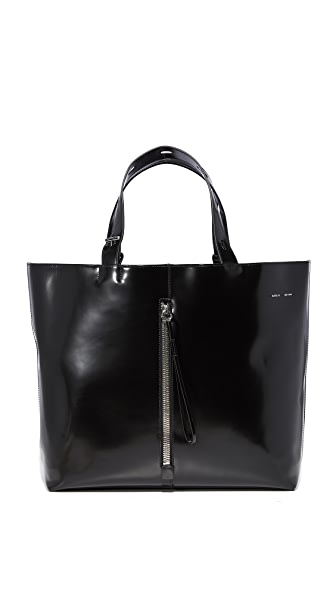 KARA Large Polished Panel Tote - Black