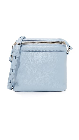 KARA Pebble Leather Stowaway Cross Body Bag - Sky Blue