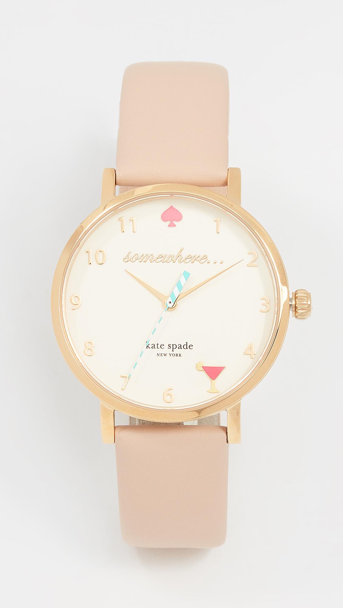 Kate Spade New York 5 OClock Metro Leather Watch - Vachetta/Gold