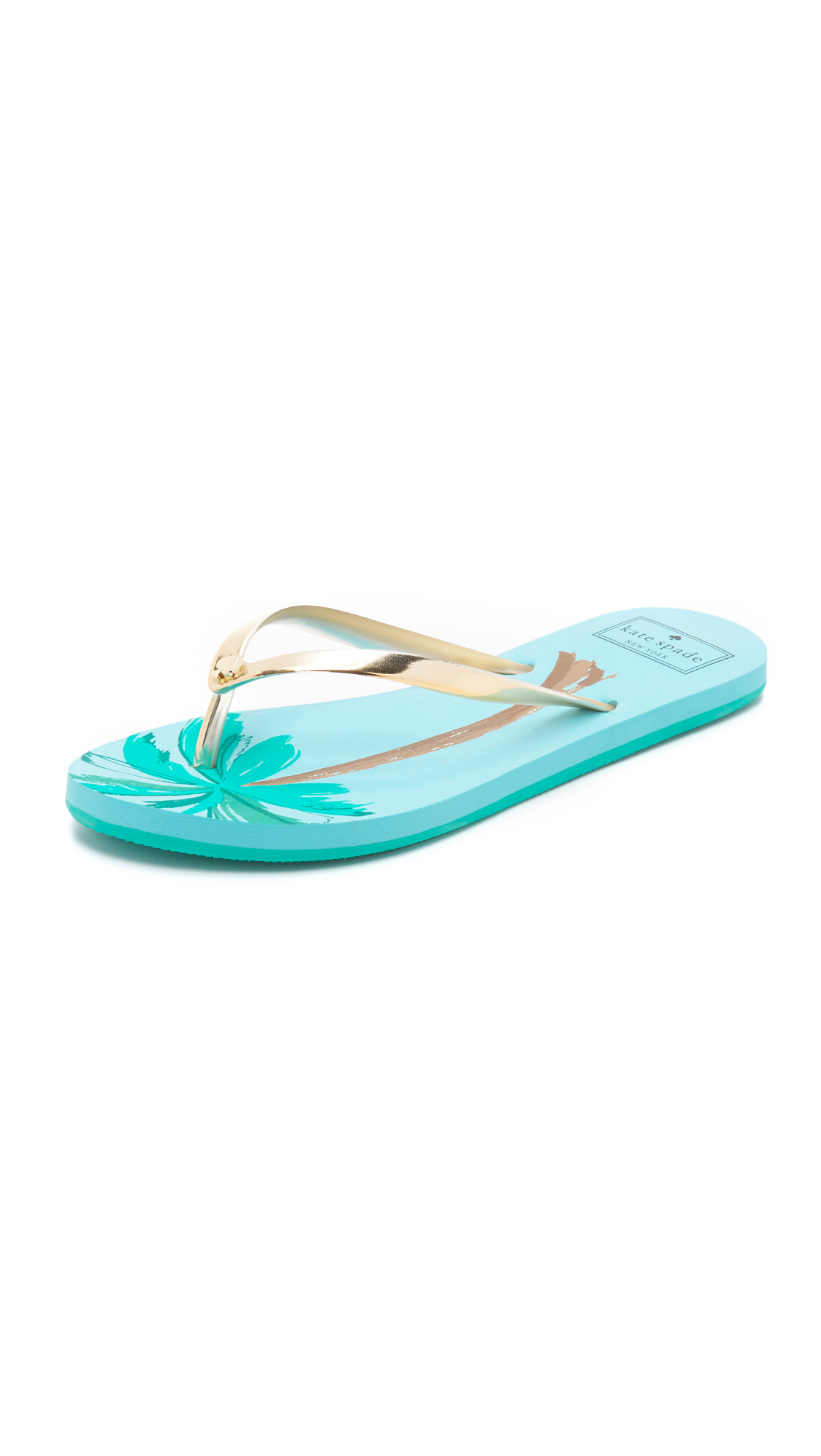 Kate Spade New York I Need A Vacation Flip Flops - Gold