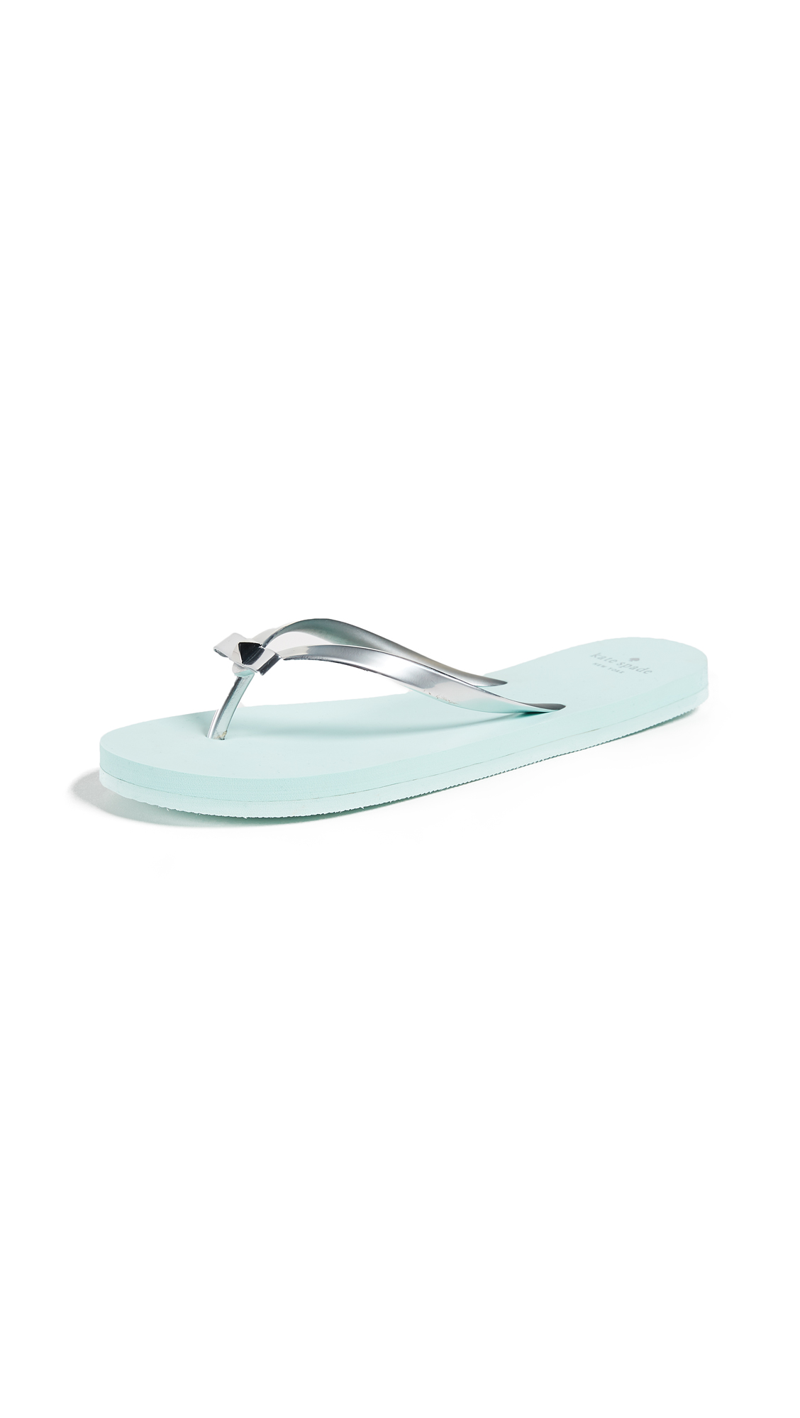 Kate Spade New York Happily Imprint Flip Flops - Silver/Light Blue