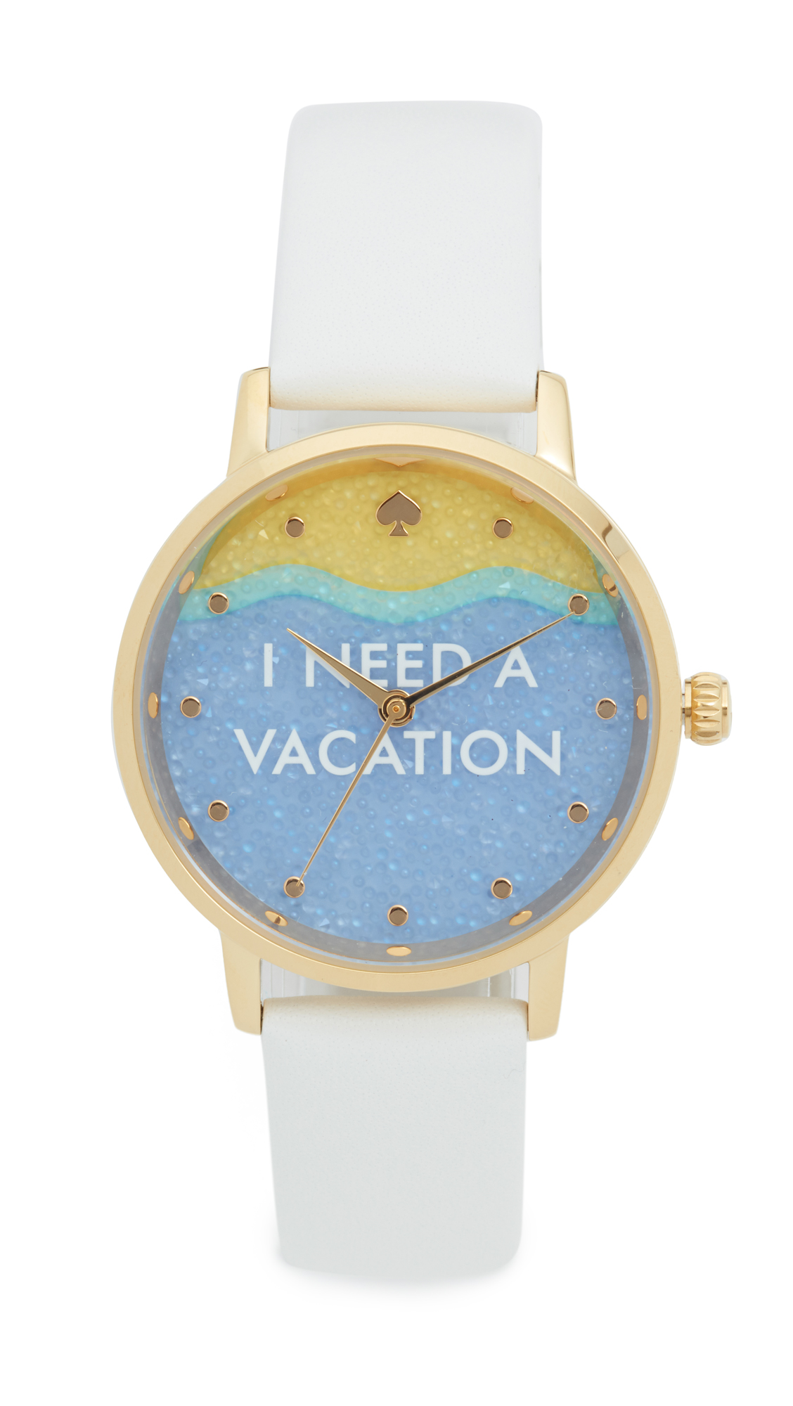 Kate Spade New York I Need A Vacation Metro Watch - Gold/White