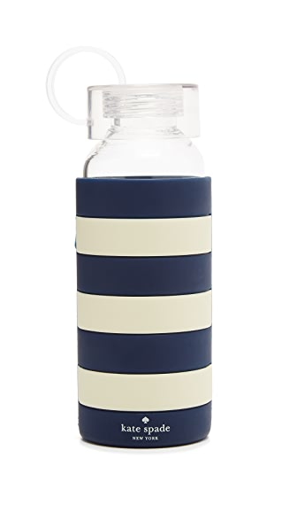 Kate Spade New York Glass Water Bottle - Navy Rugby Stripe