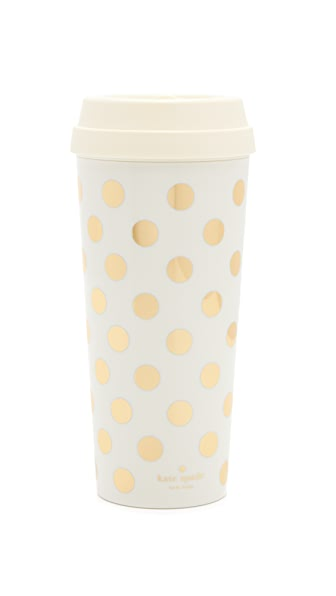 Kate Spade New York Gold Dots Thermal Mug - Gold/White