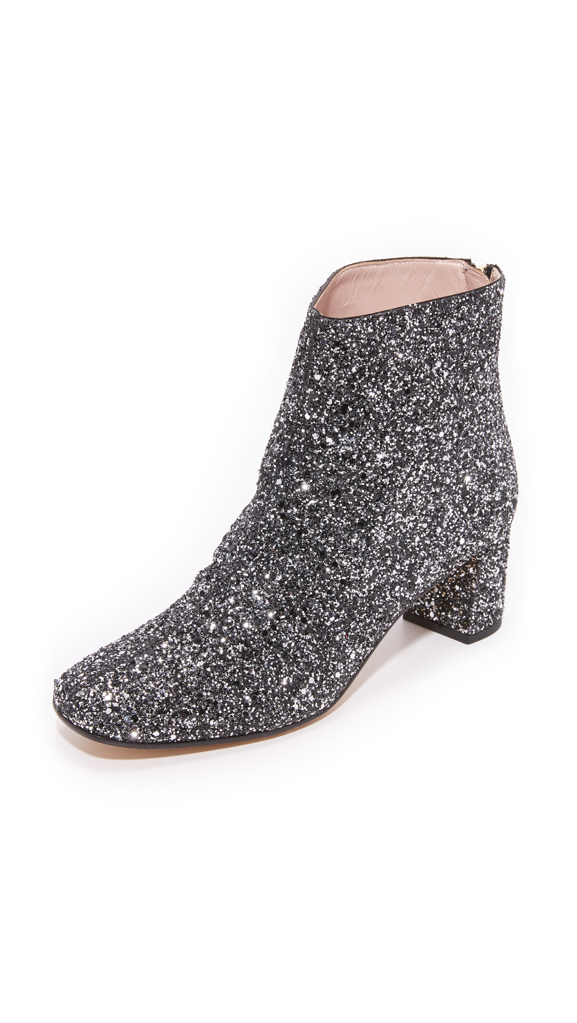 Kate Spade New York Tal Glitter Booties - Black/Silver