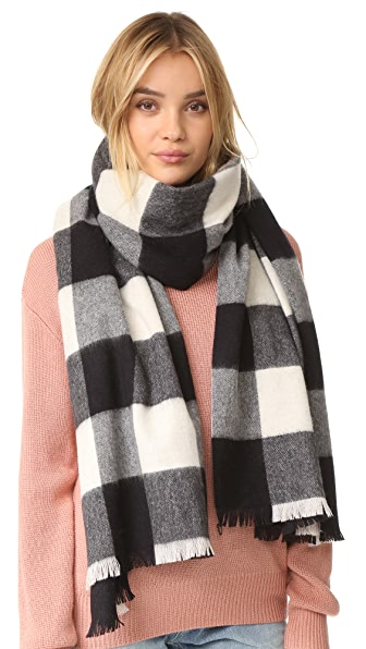 Kate Spade New York Mega Check Scarf - Au Naturel/Black