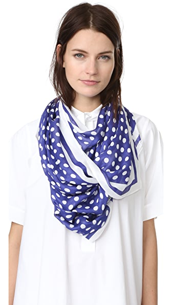 Kate Spade New York Polka Dot Stripe Oblong Scarf