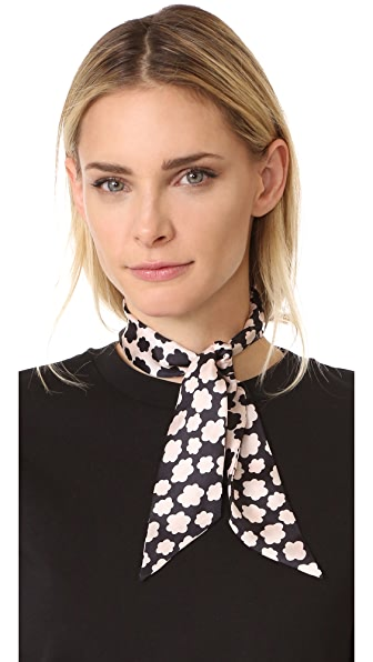 Kate Spade New York Small Petal Stamp Silk Skinny Scarf